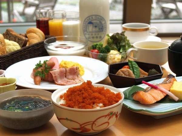 和食・洋食30品の朝食バイキング 北海道産の食材を多く使用しています。