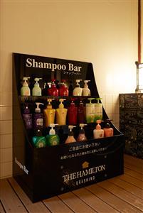 お好みのシャンプーをお選び頂けるシャンプーバー(女性浴場)