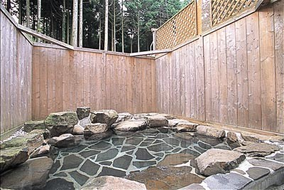 周囲を木立に囲まれた露天風呂。内湯共々、貸切利用もできる<br />