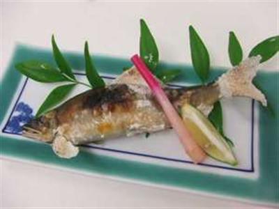 名物料理の一つ『鮎の塩焼き』