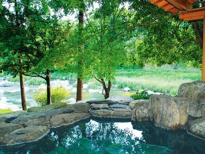 手を伸ばせば届くところに森を臨める「感動露天風呂」