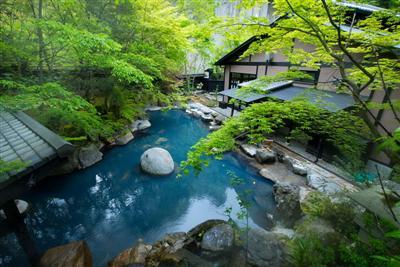 湯の色がエメラルドグリーンに変化する、野趣あふれる露天風呂
