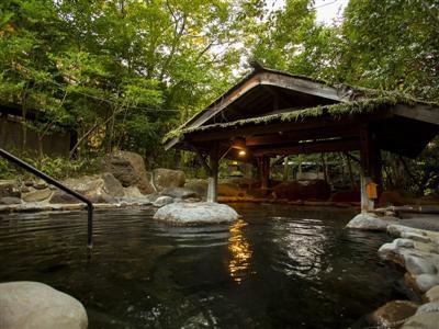 客室風呂のほか、本館夢龍胆の内湯・露天風呂も入浴可能