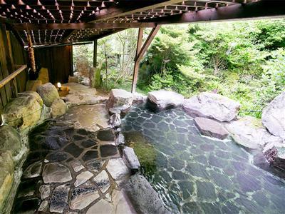 自然美感じる露天で源泉かけ流しの湯を堪能