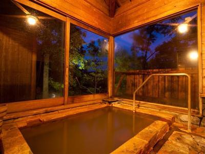 館内で、湯の花舞う良質な温泉三昧を楽しむ貸し切り風呂