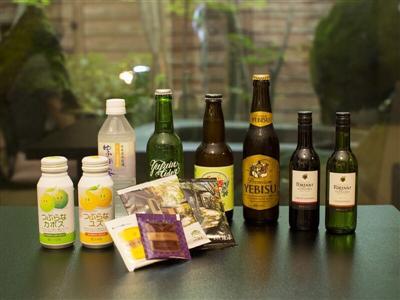 客室の冷蔵庫内にあるビールジュースなどのドリンクは全て無料