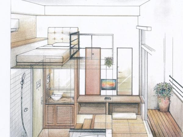 3.5Mの天井高を有効活用できる高床式ベッドを採用。
