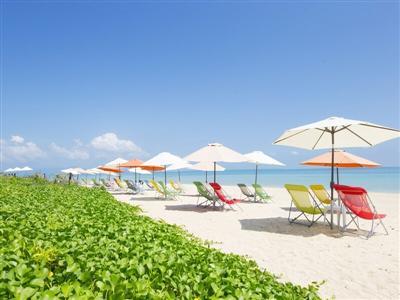 キラキラ光る海と真っ白な砂浜が広がるビーチ