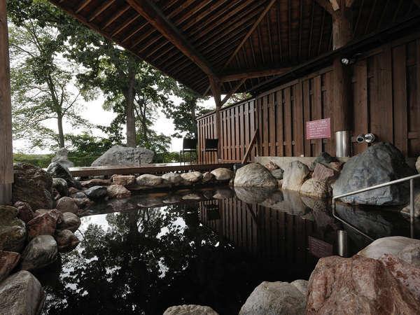 内湯には寝湯や歩行湯があり、露天風呂からは十勝の自然を眺められる